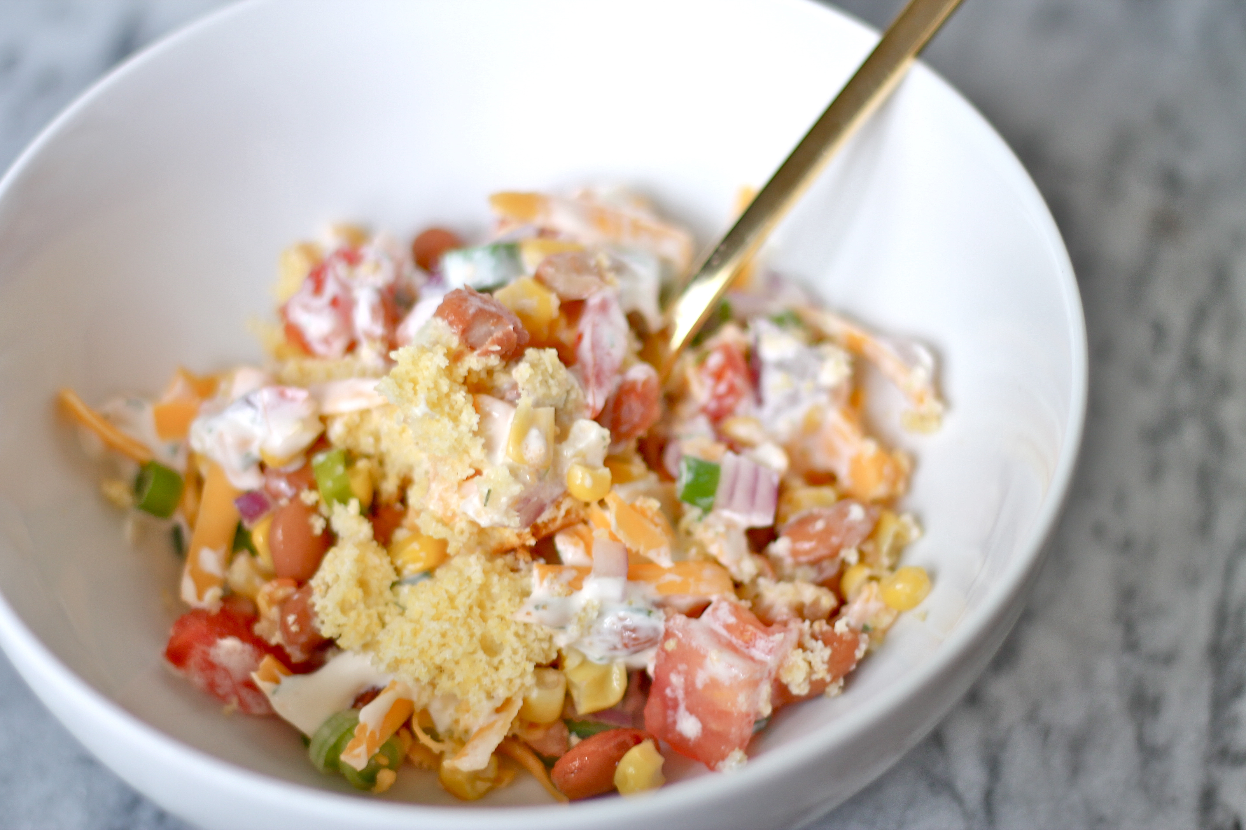 Cornbread Salad with Ranch Dressing | Perpetually Hungry