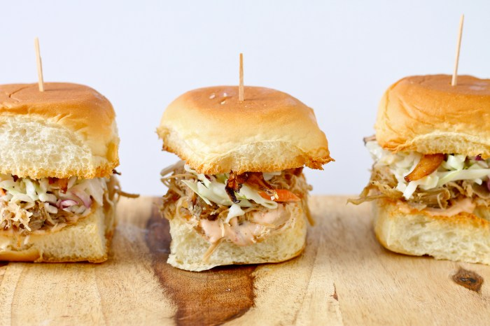 Kalua Pig Sliders with Coleslaw and Crispy Onions