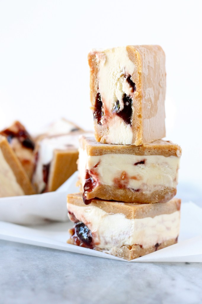 peanut butter and jelly ice cream sandwiches