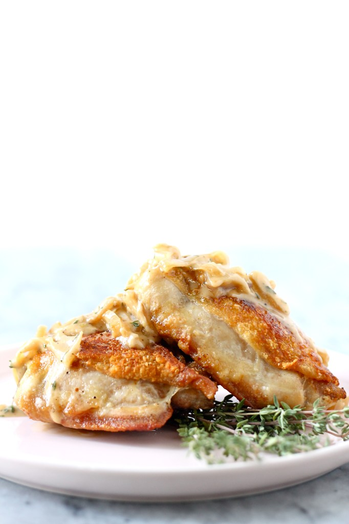 Crispy Chicken Thighs with Caramelized Shallots and Thyme
