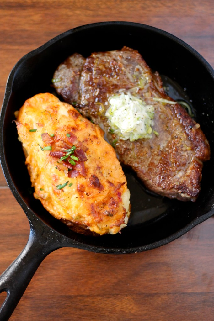 Steaks with leek compound butter and twice baked pimento cheese