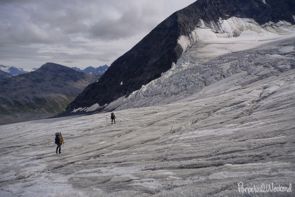 roped glacier travel alaska backpacking