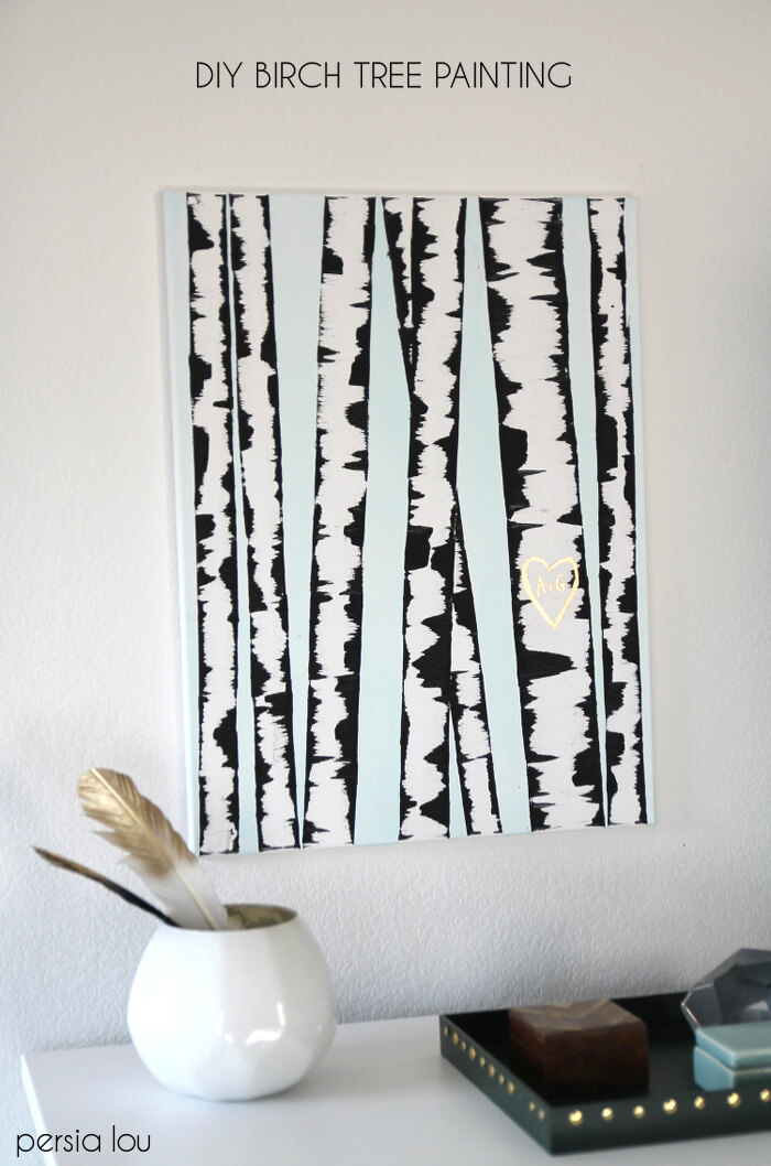 Make  DIY Birch Tree Art   Persia Lou DIY Birch Tree Art   Make your own wall art with this SUPER easy step