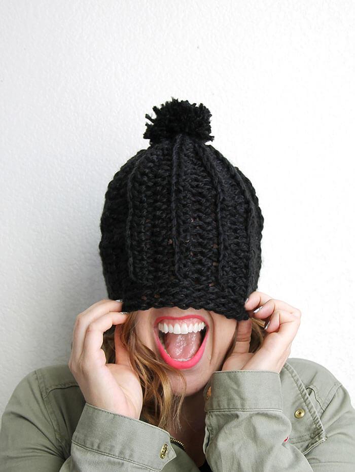 Free Crochet Pattern Chunky Slouchy Hat : Chunky Ribbed Slouch Hat ? Free Crochet Pattern