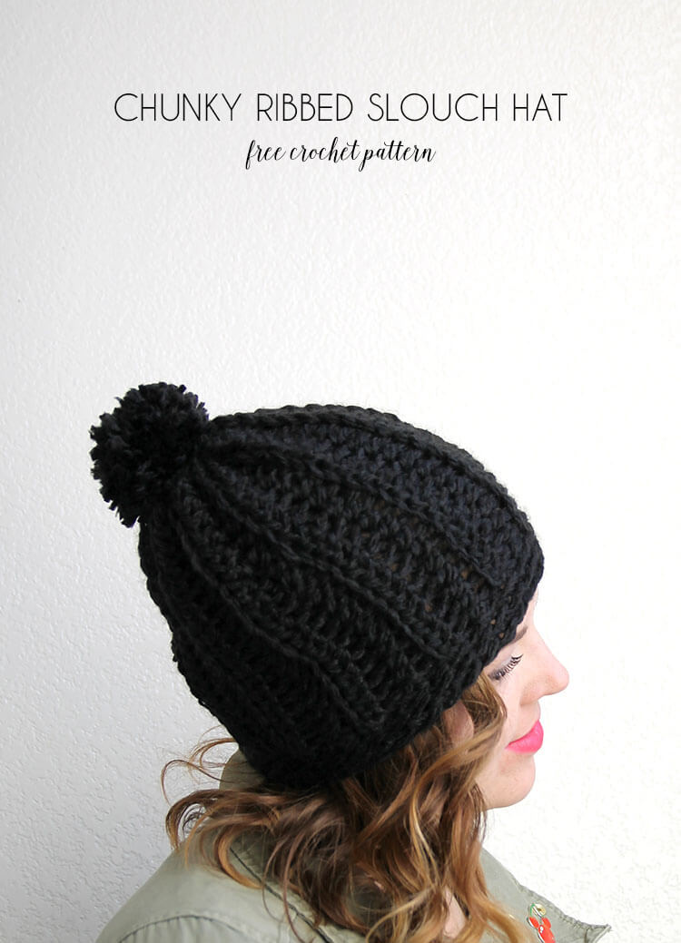 Chunky Ribbed Slouch Hat ? Free Crochet Pattern