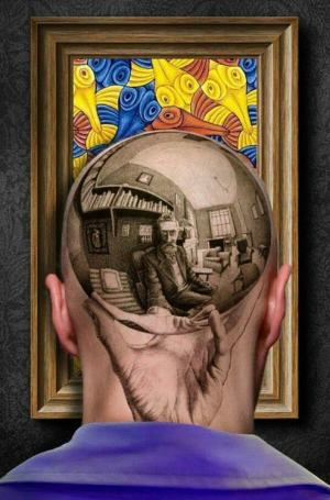Escher tatoo head