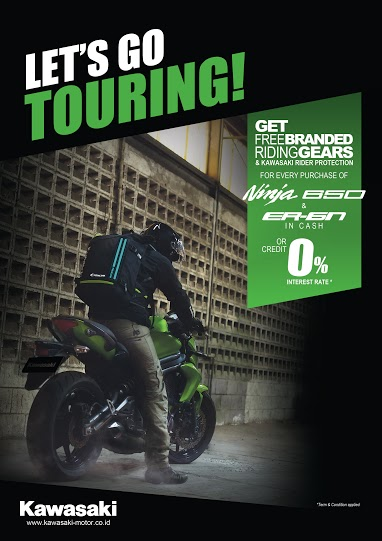 Promo Lets Go Touring Get Free Brabded riding feards and kawasaki rider protection for every purcahse of Ninja 650 and er-6 in cash pertamax7.com