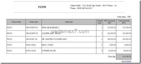 price list RDB yamaha new vixion