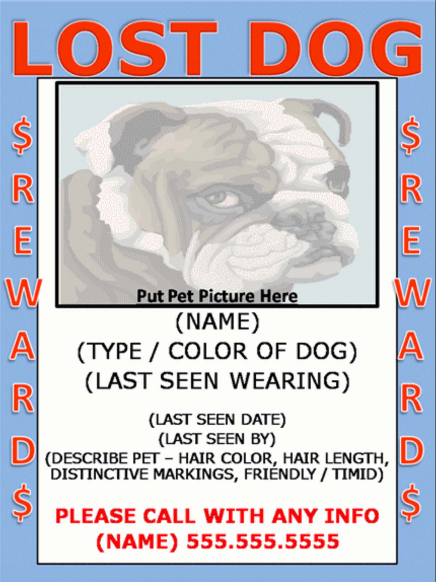 Pet Angel Santa Fe  Lost Dog Flyer Examples