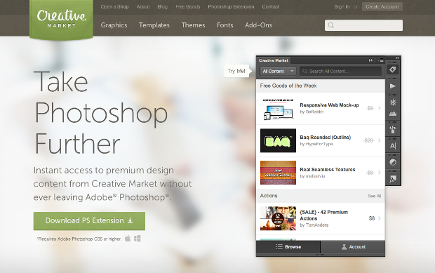 Creative Market Launches PS Extension, Lets You Buy Your Assets In App photoshopextension