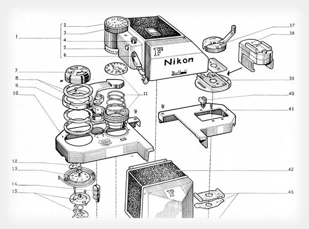 These Schematics Offer an Exploded View of Old Nikon SLR Cameras exJFulH