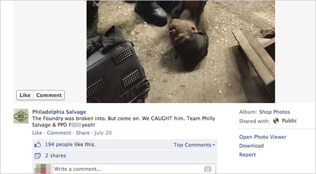 Business Shares Photo of Thiefs Arrest on Facebook, Sparks Controversy caption