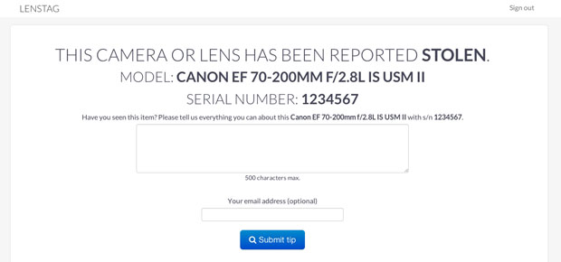 Lenstag: A Free Online Gear Registry that Aims to End Camera and Lens Theft lenstag stolenreport