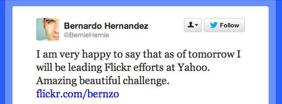 Flickr Gets a New Leader: Former Google Exec Bernardo Hernández twittermsg