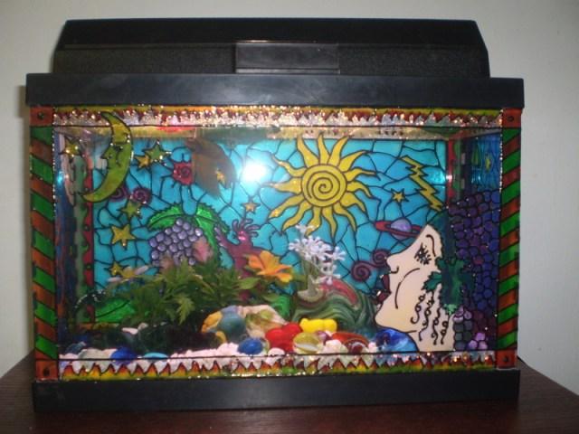 Colorful Fish Tank Decorations Diy painted aquarium decor