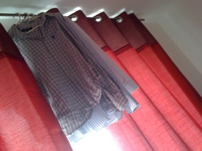 Shirts on a curtain