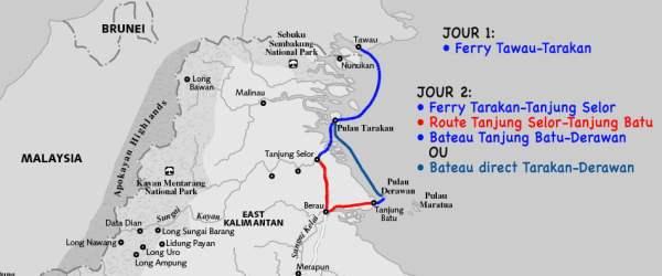 Carte du trajet de Tawau à Derawan.