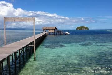 Le ponton du Sorido Bay Resort et son trou bleu au milieu du corail. Raja Ampat, Papouasie occidentale, Indonésie, janvier 2015.