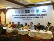 Para pimpinan lintas agama saat menggelar konprensi pers di kantor PBNU, Jakarta