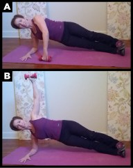 Woman exercising with side plank  exercise.