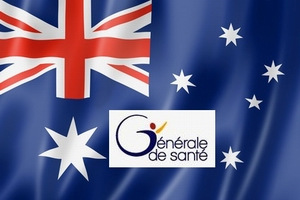 Australia flag, three dimensional render, satin texture