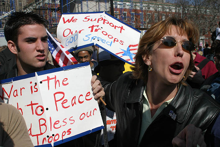 USA. New York City. March 22, 2003. Demonstration against war in Iraq. Counterprotestors show support of the war.