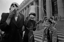 "USA. NEW YORK. The British ""Ban the Bomb"" movement of early sixties emerged revitalized in America after the Three Mile Island nuclear power station accident in 1979, and America's planned development of new medium-range missiles in New York to protest, some appropriately costumed for the day. 1980"