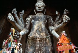 CAMBODIA. Angkor Wat. 1995. Ancient Buddha relics from Angkor Wat site. The temples date from the 9th to 13th centuries.