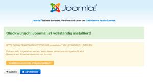 Joomla 3 erfolgreich installiert
