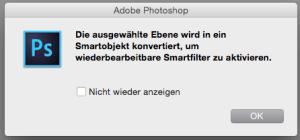 Warnmeldung von Photoshop