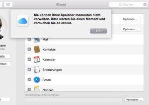 iCloudspeicher verwalten - geht gerade nicht.