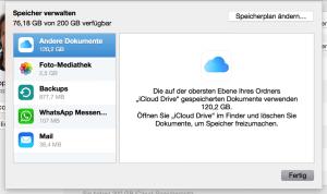 Speicher verwalten in der Cloud - Fehlermeldung