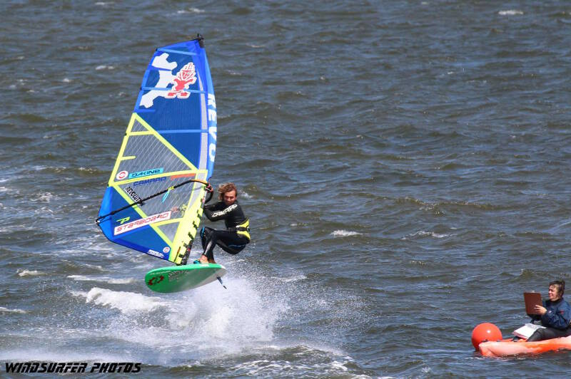 Phil Soltysiak CAN 9 finishing the long distance windsurfing race at OBX-Wind in Cape Hatteras, North Carolina. Photo by Antoine Ciociola.