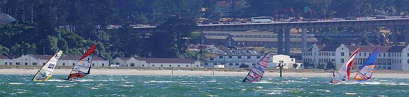 Slalom windsurfing near the Golden Gate Bridge - Photo by Greg Schreier