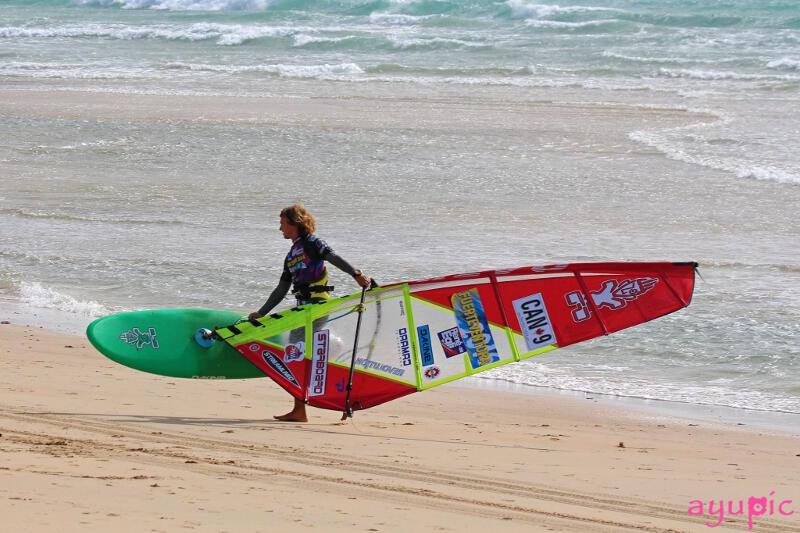 Coming off the water at the PWA Fuerteventura Grand Slam