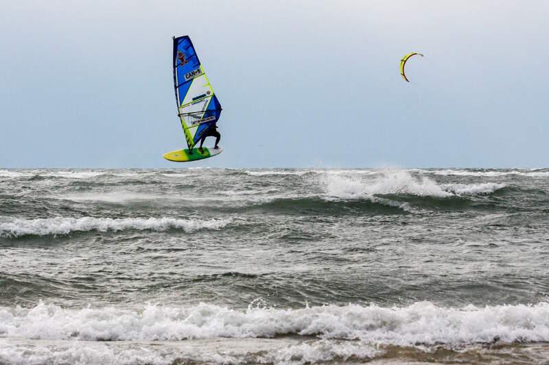 Phil Soltysiak forward loop windsurfing Lake Erie - Photo by Yurii Kuzmin