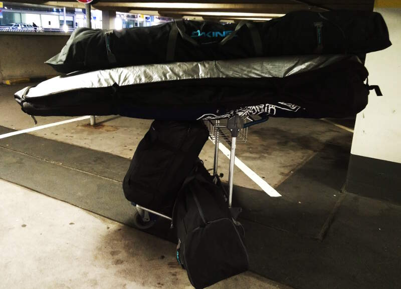 All my windsurf equipment packed and well balanced at Dusseldorf airport
