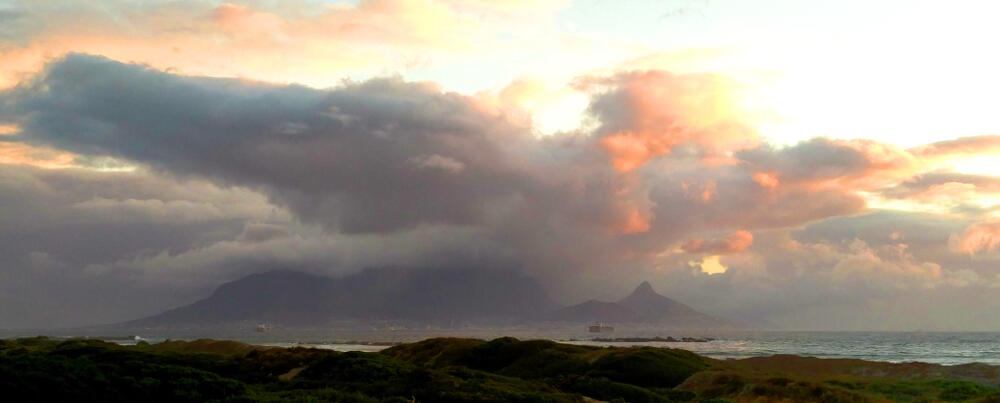 Clouds over Cape Town and Table Mountain