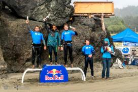 The Pro Men Podium at the IWT Pistol River Wave Bash, L to R me, Boujmaa, Morgan, Russ.