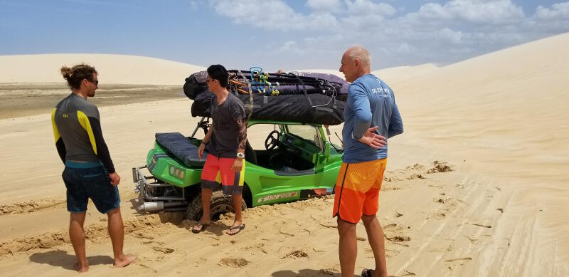 Dune buggy getting stuck on the way to the lagoon.
