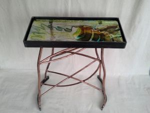 Sculptural Table-COPPER TRAILS-2016 Phill Evans-Copper-Steel-Glass H-23 W-18 D-10in
