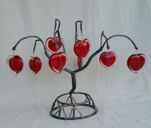 Sculpture-LOVE TREE-2016-Phill Evans Steel-Bronze-Glass H-17 W-23 D-12in