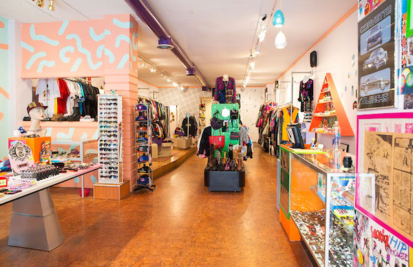 Neon and metallic colors cover the walls of Kokorokoko Vintage. (courtesy of groupon.com)