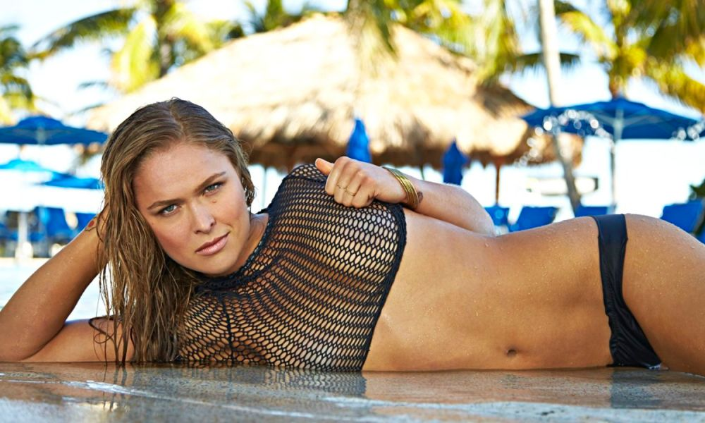 Ronda Rousey naked in body paint bathing suit for Sports