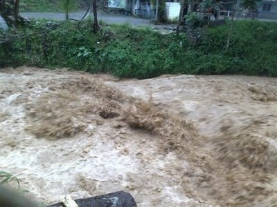 Flash flood followed after a hurricane hit Compostela Valley.