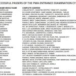 PMA Entrance Exam Lists of Passers Released (August 2013)