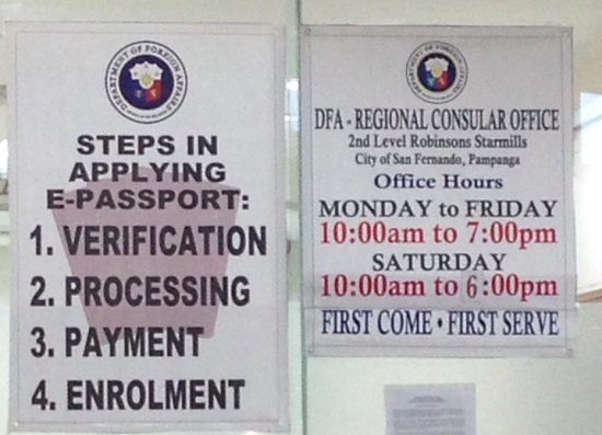Schedule of Passport Processing in DFA Region 3 - Robinsons Starmills, Pampanga. First-come-first-served basis