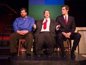 Scott Greer, Jennifer Childs as Gov. Chris Christie, and Alex Bechtel in 1812's THIS IS THE WEEK THAT IS (Photo credit: Mark Garvin)