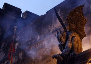 A gargoyle overlooks the entrance to Eastern State Penitentiary's TERROR BEHIND THE WALLS (Photo credit: Krystle Marcellus)
