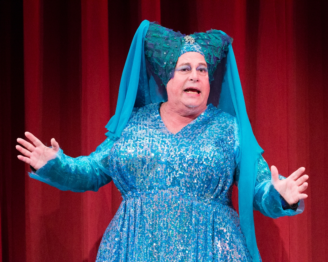Mark Lazar as the Dame of the Lake in ARTHUR AND THE TALE OF THE RED DRAGON at People's Light (Photo caption: Mark Garvin)